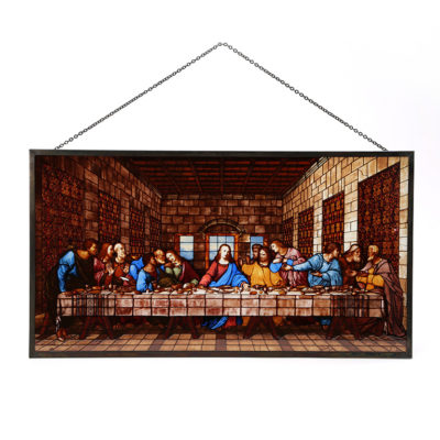 Last Supper Stained Glass Replica with chain and acrylic display holder