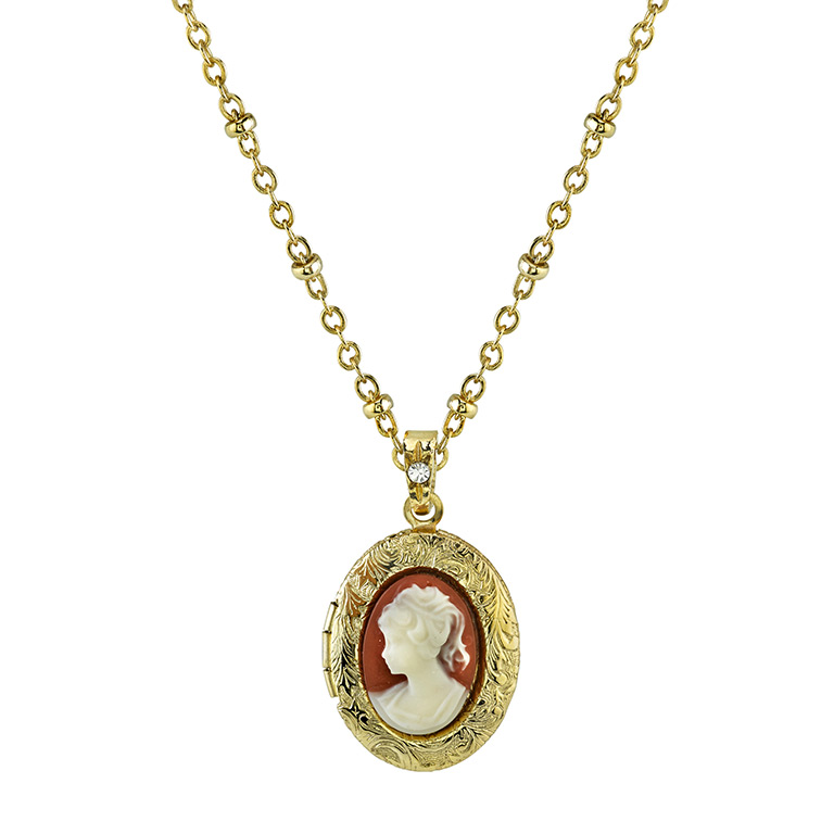 Gold-Tone Cameo Locket Necklace