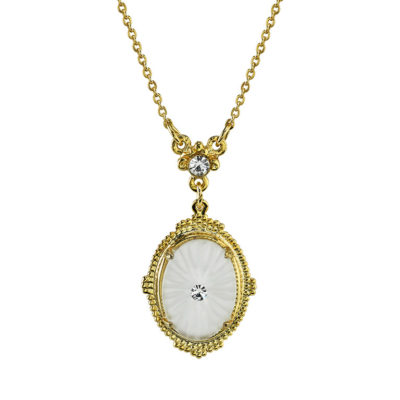 Gold-Tone Frosted Stone Necklace