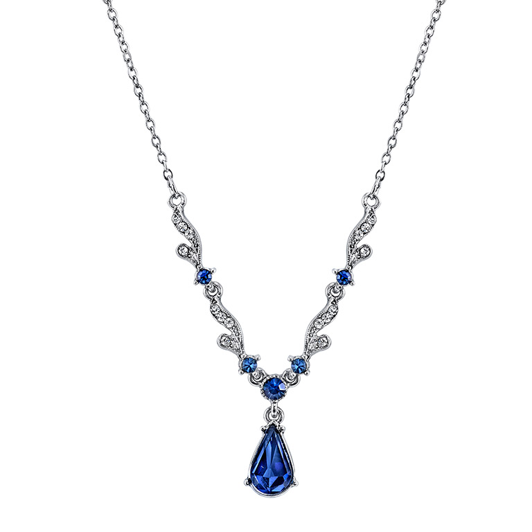 Silver-Tone Blue Crystal French Scroll Necklace