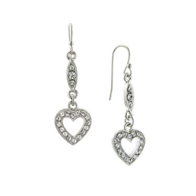Silver-Tone Crystal Heart Earrings