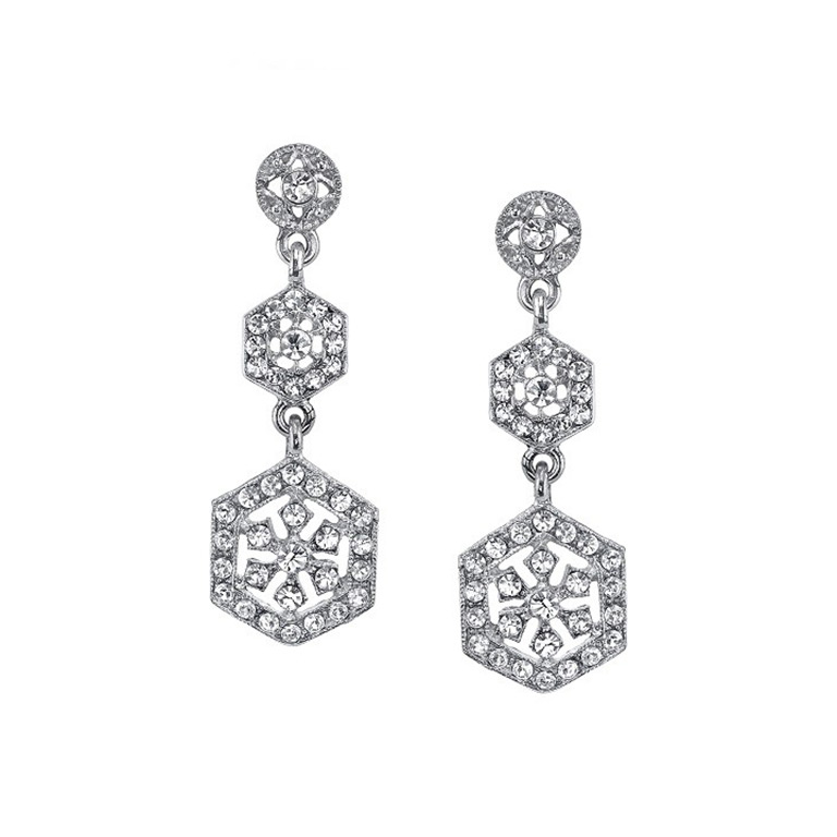Silver-Tone Crystal Linear Drop Earrings