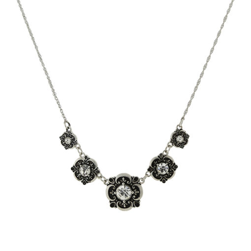 Silver-Tone Floral Bib Necklace
